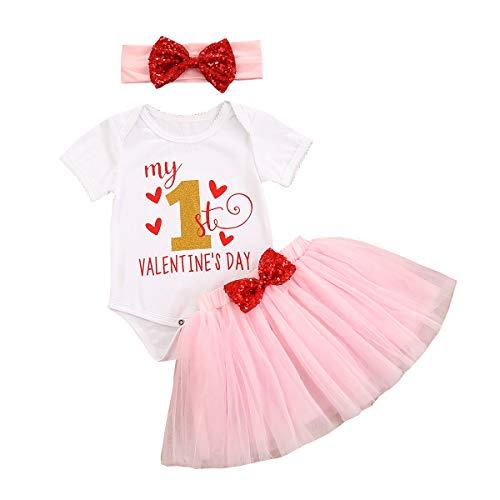 Mi primer día de San Valentín Baby Girl Rock Set de body, falda tutú de tul y diadema Rosa 0-6 Meses