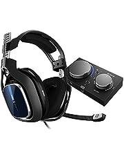 ASTRO Gaming A40 TR trådbundet gamingheadset + MixAmp Pro TR, Gen 4, Astro Audio V2, Dolby Audio, Utbytbar Mic, Game/Voice Balance Control för PS5, PS4, PC, Mac - Svart/blå