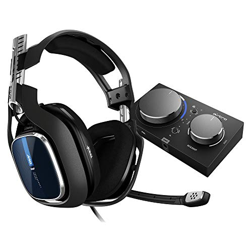 ASTRO Gaming A40 TR Gaming-Headset, MixAmp Pro TR Adapter, 4. Generation, 7.1 Dolby Surround Sound, Audio V2, 3,5 mm Klinke, austauschbares Mikrofon, Lautsprecher-Tags, PS4/PC/Mac- schwarz/blau