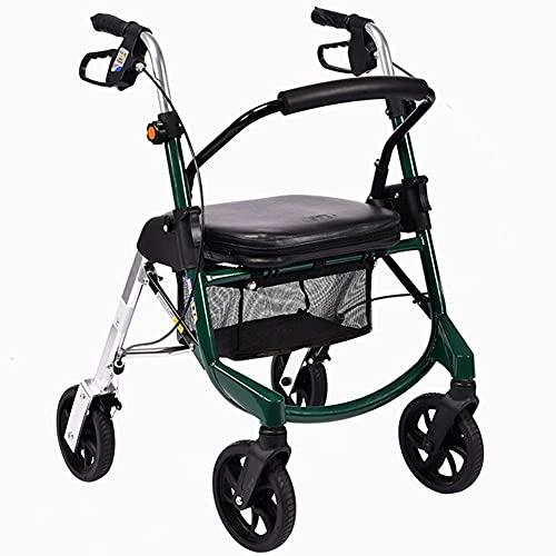 Bastidor para caminar plegable con asiento acolchado Altura ajustable Carro de compras para anciano Caminante estable y duradero