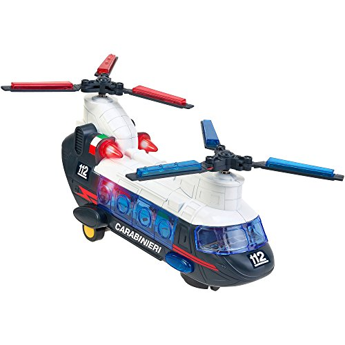 W'TOY - Police helicopter with batteries, 2 propellers with Mysterious Movement, Lights and Sounds (37795 Globe)