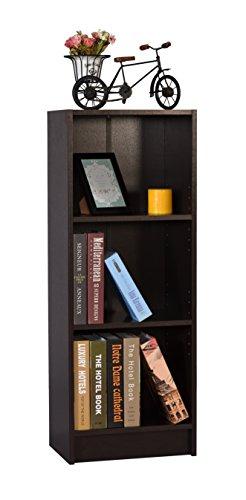 DeckUp Lexis 3-Shelf Bookcase and Storage Unit (Dark Wenge, Matte Finish)