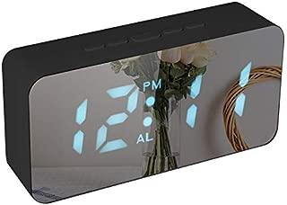 Digital LED Alarm Clock USB/Battery Powered RGB Desktop Table Mirror Clock Thermometer with Adjustable Luminance Snooze Function