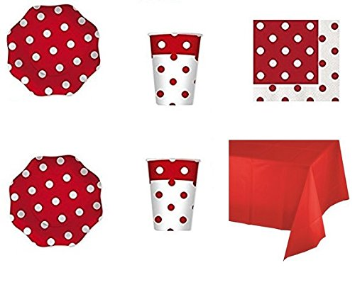 CDC - Kit n°4 Coordinato Pois Rosso da tavola per Festa e Party ed Ogni ricorrenza - (20 Piatti, 20 Bicchieri, 20 tovaglioli,1 Tovaglia)