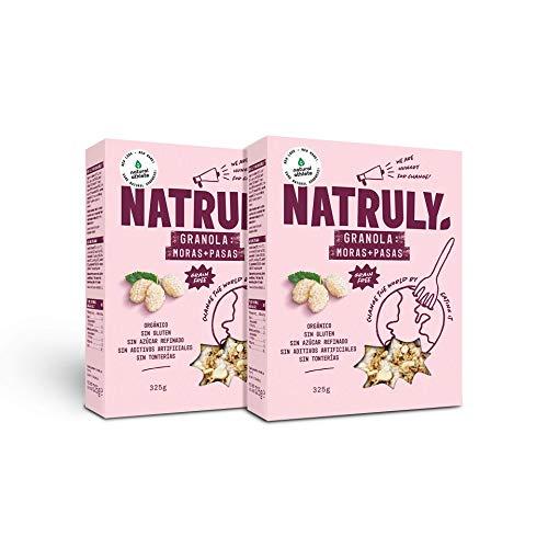 NATRULY Granola BIO de Frutos Secos y Semillas Sin Cereales, Sin Gluten y Sin Azúcar Refinado, Vegana, Sabor Moras y Pasas -Pack2x325g