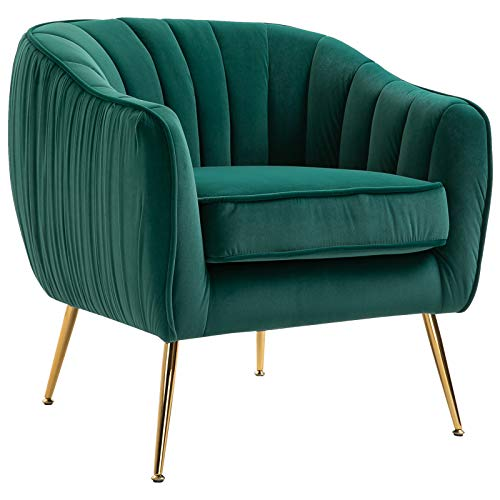 homcom Poltrona da Salotto Imbottita con Braccioli e Schienale, Design Moderno, Gambe in Metallo (71x72x73 cm) Verde