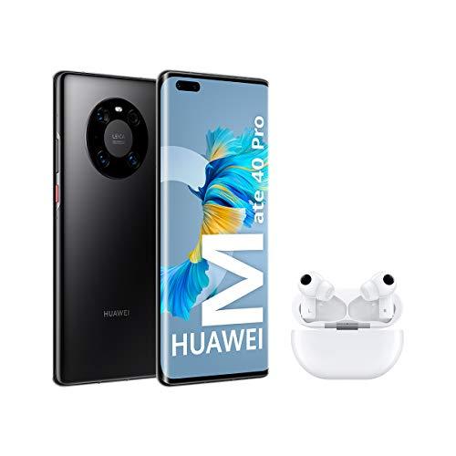"Huawei Mate 40 Pro Black + FreeBuds Pro White - Smartphone con Pantalla Curva de 6.76"", 8 GB + 256 GB, 5nm Kirin 9000 5G SoC, Cámara Leica 50 MP, Negro [Versión ES/PT]"