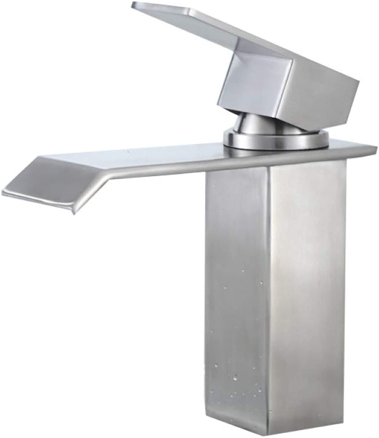 PZXY Faucet 304 Stainless Steel Basin Waterfall Faucet Drawing Single Hole Mixing Valve Faucet