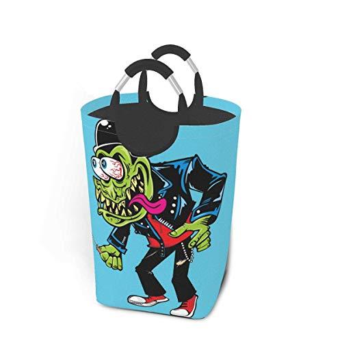 Panier à linge vert monstre zombie diable bleu grand sac à linge sale pliable grand panier de rangement en tissu paniers de rangement en tissu rectangle plier bac à linge organisateur de vêtements à l