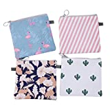 Get DOITOOL 4Pcs Period Bags for Teen Girls Waterproof Zipper Tampon Sanitary Napkin Bags Sanitary Pads Pouch for Teens Girls Women (Cactus, Flamingo, Flower, Stripe,) Just for $10.49