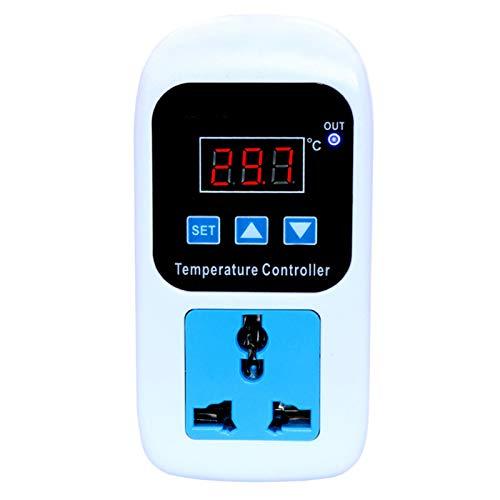 Pista de calefacción por mascotas Temperatura micro ordenador digital LED Controlador de pantalla Termostato Enchufe con calefacción / refrigeración control del regulador Hábitat de reptiles y anfibio