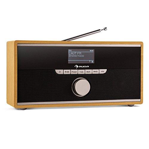auna Weimar - Radio por Internet, Digital, Dab, WLAN, Sintonizador Dab+ FM, DRC, Bluetooth, Entrada Auxiliar 3,5 mm, 2 despertadores, Temporizador de Apagado, Madera Oscura