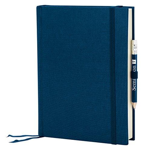 Semikolon (351264) Reisetagebuch Grand Voyage marine (blau) blanko - Tagebuch mit 272 Seiten - 2 Lesezeichen, Weltkarte, uva. - Notizbuch A5