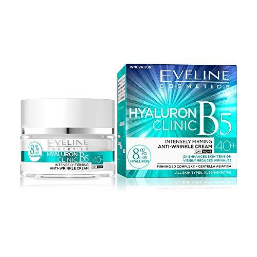 Eveline Cosmetics Hyaluron Clinic Straffende Anti-Falten Creme Gesicht ab 40 | 50 ml | Anti-Aging Gesichtscreme Damen | Faltenreduzierung | Glatte, mit Feuchtigkeit versorgte Haut