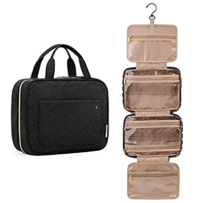 BAGSMART Toiletry Bag Travel Bag with hanging hook, Water-resistant Makeup Cosmetic Bag Travel Organizer for Accessories, Shampoo, Full Sized Container, Toiletries, Black