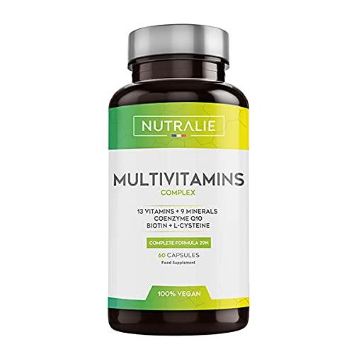 Multivitaminas y Minerales + Coenzima Q10 | Complejo Multivitaminico Vegano 29 Nutrientes con Vitaminas A, B, C, D, E, K, Biotina, L-cisteína, Coenzima Q10 y 9 Minerales | 60 Cápsulas Veganas Nutral