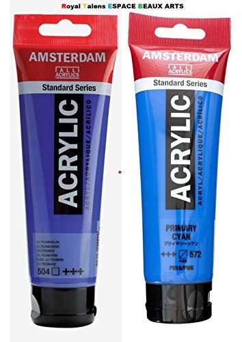 Pintura acrílica estándar Royal Talens Amsterdam 120ml-Ultramarine and Primary Cyan .Set 2pcs