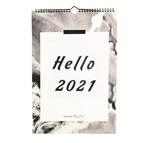 XIAOQIU 2021 Desk Calendar 2021 New Year Wall Calendar Decorative Monthly Calendar Schedule Clocking Note Daily Decoration Household Wall Calendar Desktop Calendar (Color : HELLO 2021)