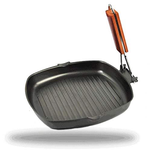 IUYJVR 20/24 cm Hierro Filete Plancha para Acampar Frying BBQ Antiadherente Fácil Limpieza Suministros de Cocina Sartén Plegable Sartén para Picnic Sartenes (Color: 20cm)