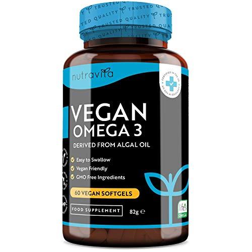 Gélules molles Vegan d'Oméga 3 haute résistance 2000 mg - 600 mg de DHA et 300 mg d'EPA par portion - Gélules molles d'Oméga 3 à base de plantes dérivées d'huile d'algue durable - Nutravita