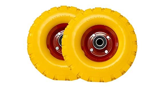 2PZ Ruote carriola antiforatura pneumatici di gomma piena antipanne Adatta per Asse 4.10/3.50-4 Lunghezza mozzo 70mm
