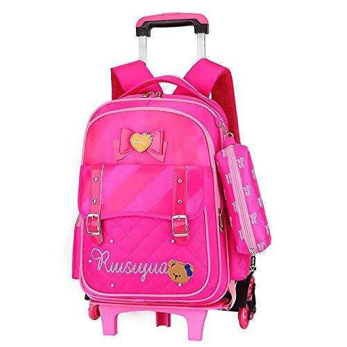 ZZLHHD Wheeled Trolley Backpack,Reduce the bulk backpack, cute girl bag-Six rounds,Kids Trolley Backpack