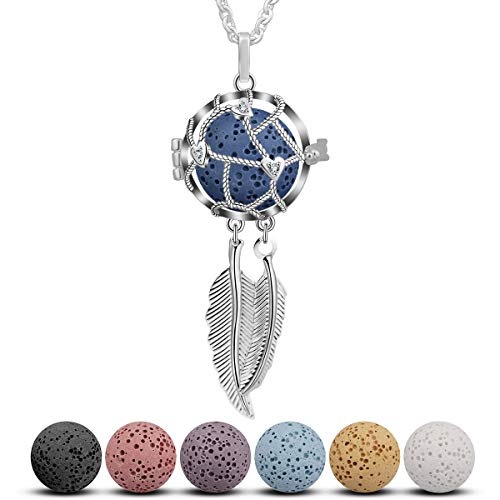 CELESTIA Dream Catcher Essential Oil Diffuser Necklace Aromatherapy Locket Pendant Jewelry Gift Set for Girls Women, 7 Reusable Coloured Lava Stones - 24'' Chain