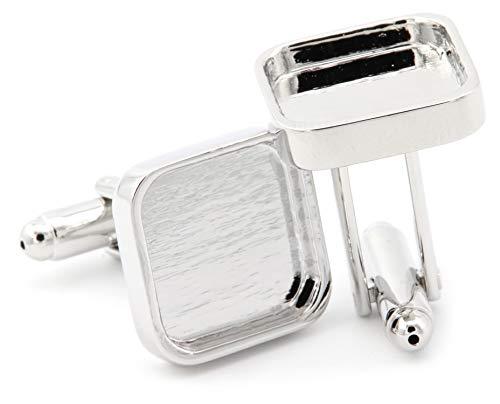 NaturSchatulle Manschettenknöpfe Rohlinge Silber Eckig I 1 Paar Cabochon Fassungen Hochwertige Accessoires Basteln DIY Schmuckherstellung
