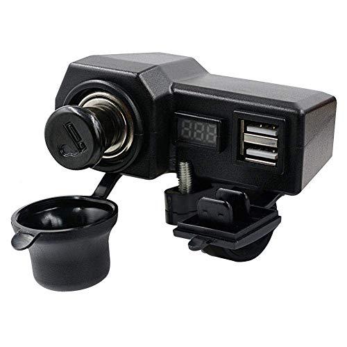 MySixKeen Cargador de teléfono móvil para Motocicleta, USB Dual 3.4A con Encendedor de Cigarrillos, 10-24V con medidor de Pantalla de Voltaje, Accesorios modificados