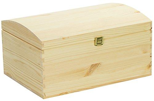 LAUBLUST Große Holztruhe gewölbter Deckel - 35x25x19cm, Natur, FSC®   Allzweck-Kiste aus Holz - Aufbewahrungskiste   Geschenk-Verpackung   Deko-Kasten zum Basteln   Spielzeug-Truhe   Erinnerungsbox