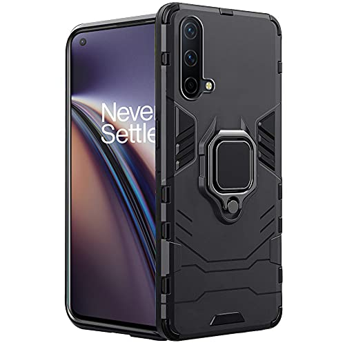 TheGiftKart Tough Armor OnePlus Nord CE 5G Bumper Back Case Cover | Ring Holder & Kickstand in-Built | 360 Degree Protection Back Case Cover for OnePlus Nord CE 5G (Carbon Black)