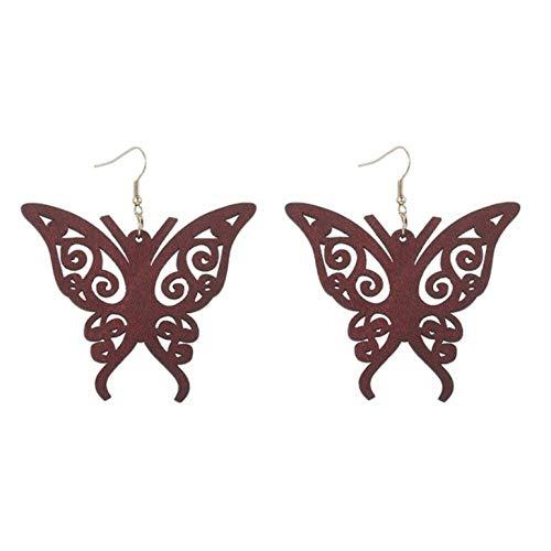 Empty mode hout hol zwart rood druppel oorbellen sieraden voor vrouwen geschenk sieraden
