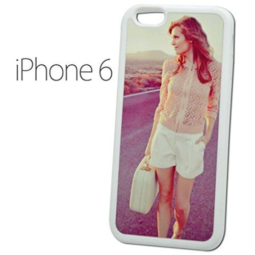 Sticker Design Shop iPhone 6 / 6S mobiele telefoon hoes schaal cover case gepersonaliseerde beschermhoes individueel bedrukt met uw wens, fotologo motieven tekst, Kleur rand: wit.