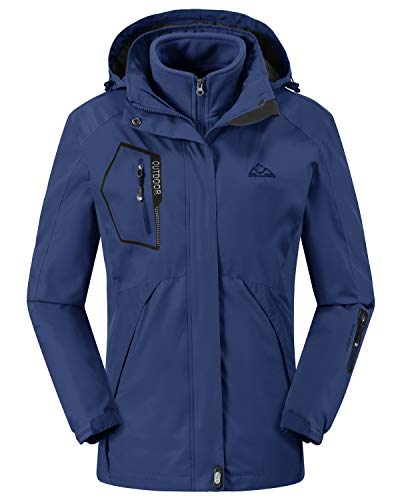 Womens 3 in 1 Insulated Waterproof Blue Ski Jacket