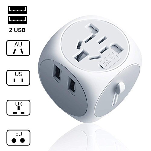 Universal Travel Adapter All in One Worldwide Travel Adapter Wall Charger AC Power Plug Adaptor with Dual USB Charging Ports 2.5A Works for US EU UK AU European Cell Phone Laptop-White