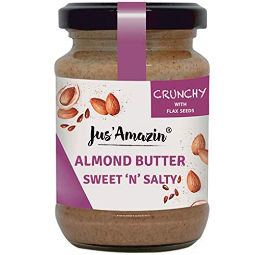 Crunchy Almond Butter with Crunchy Flaxseeds (125g), 22% Protein, Plant-Based Nutrition, 86% Almonds, Rich in Omega-3, Zero Chemicals, Vegan, Dairy Free, 100% Natural