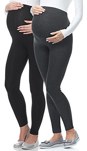 Be Mammy Lange Umstandsleggings aus Viskose BE-02 2er Pack (Schwarz/Dunkelmelange, XL)
