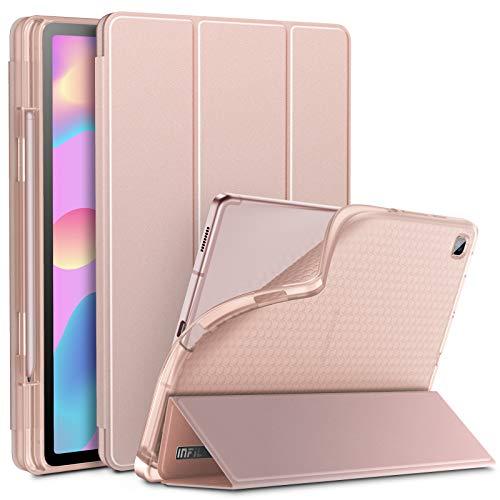 INFILAND Funda para Galaxy Tab S6 Lite con S Pen Holder, Delgada Translúcido Back TPU Case Cascara con Auto Reposo/Activación Función para Samsung Galaxy Tab S6 Lite 10.5 P610/P615,Rosa Dorado