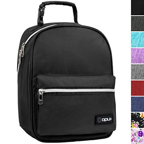 OPUX Premium Insulated Lunch Box for Boys, Girls | Durable Leakproof School Lunch Bag with Handle Clip, Mesh Pocket | Reusable Work Lunch Pail Cooler for Adult, Men, Women | Fits 14 Soda Cans (Black)