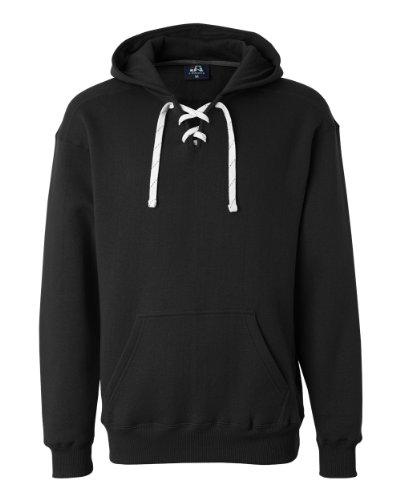 Black Hockey Hood Sweatshirt: 80% Ringspun Cotton, 20% Polyester Fleece Fabric.,Black,3X-Large