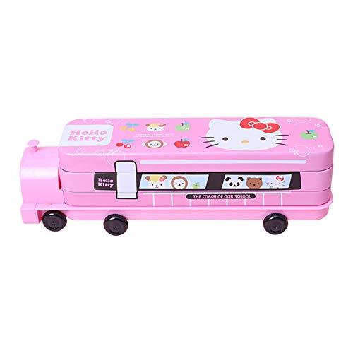 Hello Kitty and Friends Caja de lata con sacapuntas de lápiz en forma de coche para niña niño escuela Sationery Pen Case Holder (rosa)