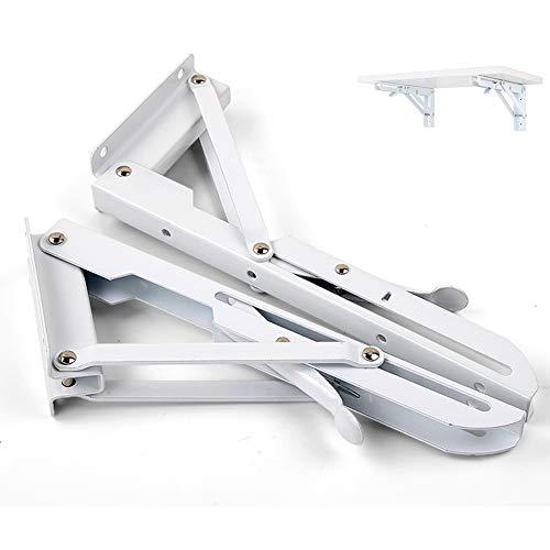 Smeedijzeren stevige opvouwbare plankbeugels, Heavy-Duty Metal Driehoek Tafel-Top Vouwen voor Rechthoek voor Werkbank, Boekenplank, Display Stand (2St-Wit) 250 * 95mm