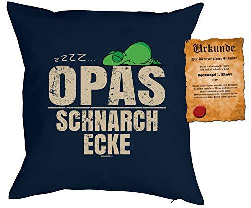 Opa Sprüche Kissen Geschenk - Großvater Geschenk : zzz… Opas Schnarch Ecke - Kissen ohne Füllung + Urkunde - Farbe: Navyblau