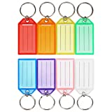 Cuttte 16 Pack Plastic Key Tags, Key Labels with Ring and Label Window, 8 Colors