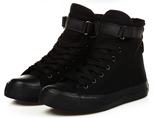 ACE SHOCK Women's Casual High Top Flat Canvas Shoes Fashion Sneakers (7.5, Black)