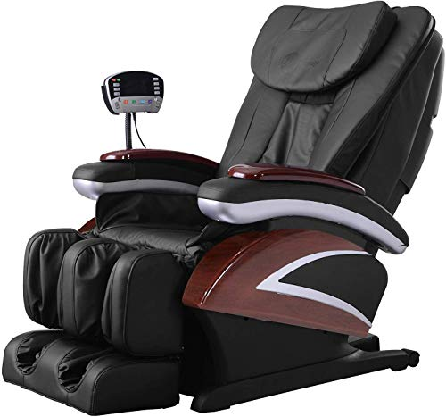 Full Body Electric Shiatsu Massage Chair Recliner with Built-in Heat Therapy Air Massage System Stretch Vibrating for Home Office Living Room PS4,Black