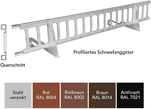 Schneefanggitter Rot, inkl. Auflageschutz 1,5 m, 7-teiliges Set, Made in Germany | 233 kg pro Meter stark, universales Schneefangsystem, blitzschnell montiert