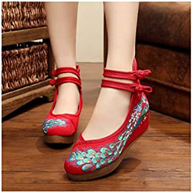 Platform Size Fashion Women Shoes Old Beijing Flats with Casual Shoes Chinese Style Embroidered Cloth Shoes