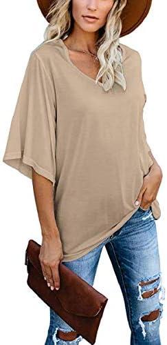 cordat Women s Blouse Summer Tops Loose V Neck 3 4 Bell Sleeve Plus Size Shirt Khaki product image