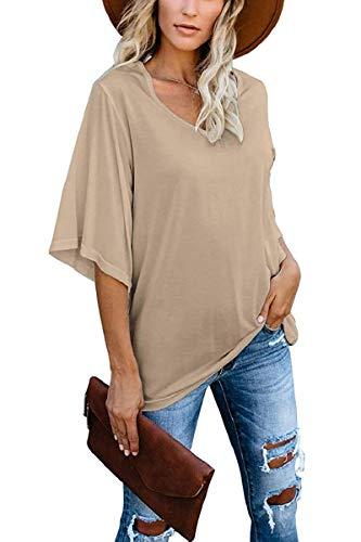 cordat Women's Blouse Summer Tops Loose V Neck 3/4 Bell Sleeve Shirt Khaki
